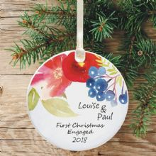 First Christmas Engaged  Personalised Ceramic Keepsake Decoration - Watercolour Floral Design